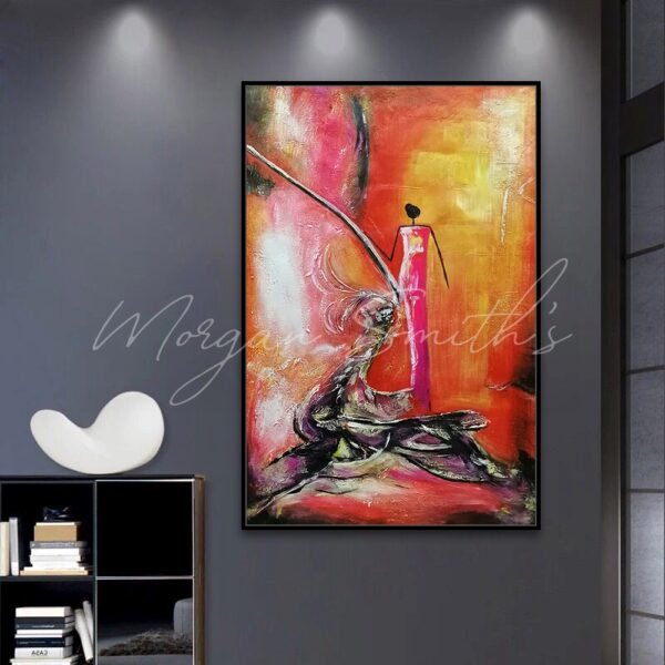 Abstract Red Dress Oil Painting on Canvas