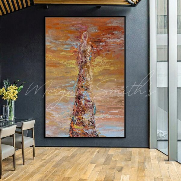 Large Abstract Stone Figure Oil Painting on Canvas
