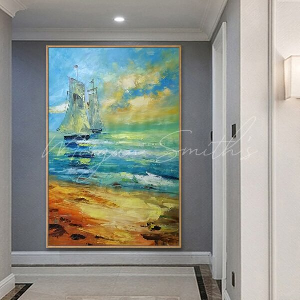 Shoreline with Sailing Boat Oil Painting on Canvas