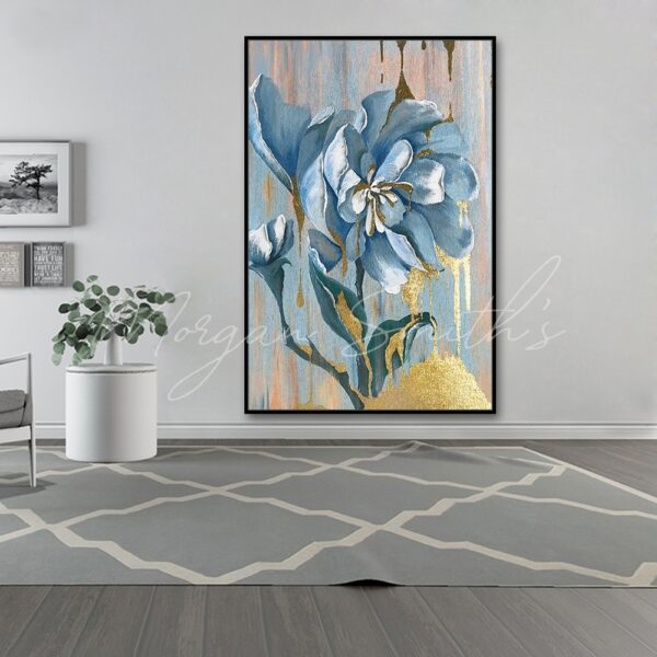 Large Abstract Flower with Gold Highlights Oil Painting on Canvas