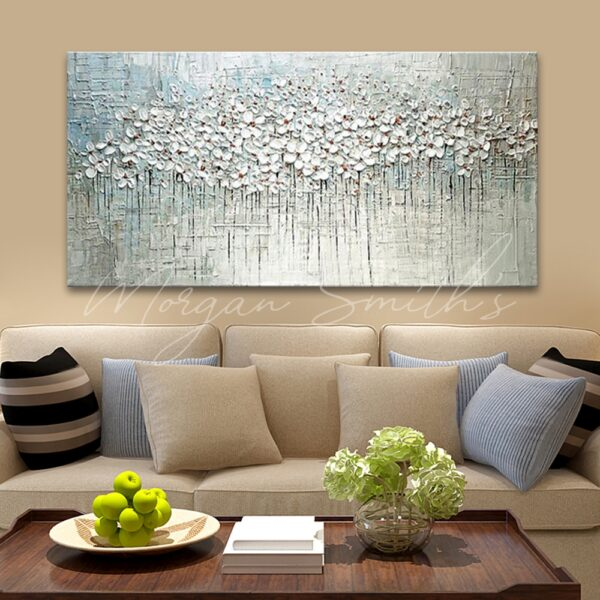 Palette Knife Abstract Flower 3D Oil Painting on Canvas