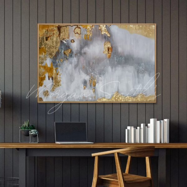 Abstract Gold And Grey Oil Painting on Canvas
