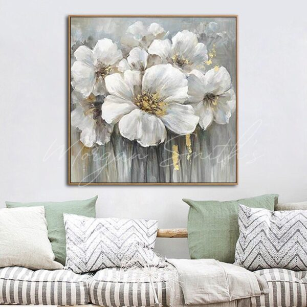 Large White and Gold Abstract Flowers Oil Painting on Canvas